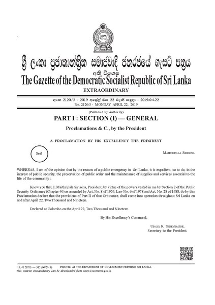File:President SIRISENA invokes emergency laws following Easter Sunday bombings.pdf