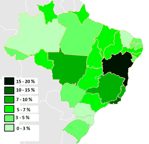 Afro-Brazilians - Percentage of black Brazilians per state, 2009.