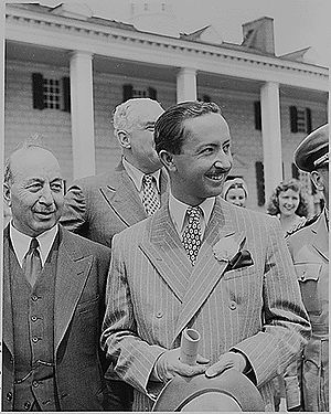 Faisal II of Iraq - Prince Abdullah (holding hat) at Mount Vernon USA. He was the regent for his nephew Faisal during his infancy. They were both killed during the 1958 coup.