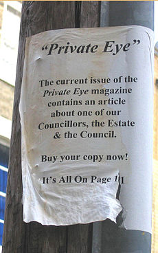 """Photo of black and white A4 poster attached to telegraph pole, reads: """"The current issue of Private Eye magazine contains an article about one of our Councillors, the Estate and the Council."""""""