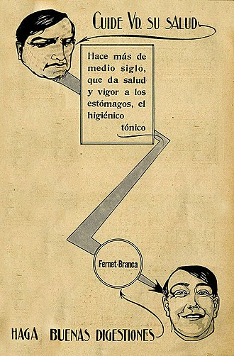 """Fernet - Fernet-Branca advertisement in Caras y Caretas, """"for a good digestion"""". Buenos Aires, 7 February 1914."""