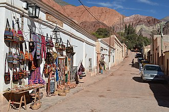 Purmamarca - Street in Purmamarca looking towards the Cerro de los Siete Colores.