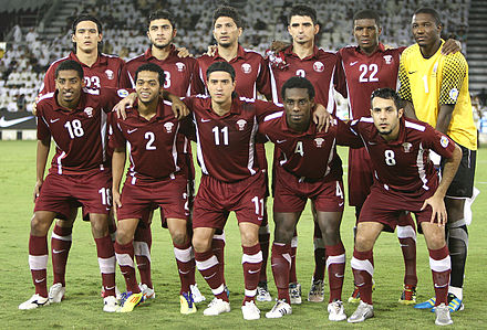 Qatar national team in 2011 during the 2014 FIFA World Cup qualifying rounds. Qatar national football team.jpg