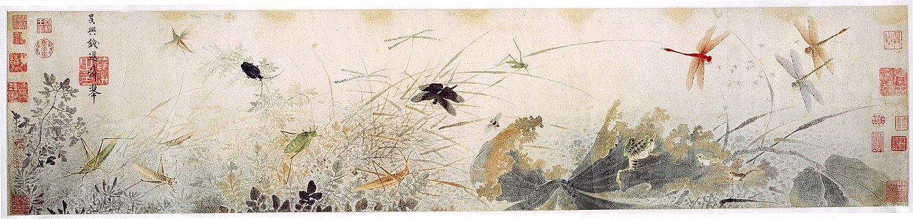 Early Autumn, 13th century, by Song loyalist painter Qian Xuan. The decaying lotus leaves and dragonflies hovering over stagnant water are probably a veiled criticism of Mongol rule. Qian Xuan - Early Autumn.jpg