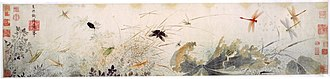 Chinese art - Early Autumn, 13th century, by Song loyalist painter Qian Xuan. The decaying lotus leaves and dragonflies hovering over stagnant water are probably a veiled criticism of Mongol rule.