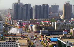 Qinhuangdao - Looking south along Minzu Road from the top floor of the International Trade Hotel