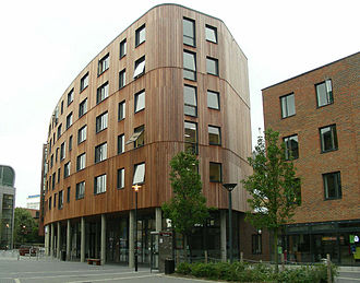 Queen Mary University of London - Feilden House with The Curve restaurant beneath, located in the centre of Westfield Student Village