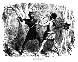 Stick-fighting - An artwork depicting stick fighting