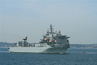 RFA Argus (A135) - Argus enters Portsmouth Naval Base on 9 July 2010 with the crew lining the decks.