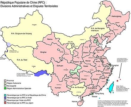 Carte Chine Villes Provinces.Provinces De Chine Wikipedia