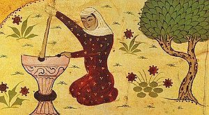 Rabia of Basra - Depiction of Rabi'a grinding grain from a Persian dictionary