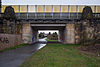 Railroad bridge freight train bypass Lothringer Strasse Kirchrode Hannover Germany.jpg