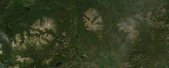 Satelite photo of the three Anahim shield volcanoes. From left to right: Rainbow Range, Ilgachuz Range, and Itcha Range.