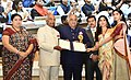 Ram Nath Kovind presenting the Best Actress Award to Sridevi (posthumous), the award received by her husband Boney Kapoor and daughters Janhvi Kapoor & Khushi Kapoor, at the 65th National Film Awards Function, in New Delhi.JPG
