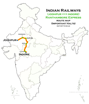 Ranthambore Express - Ranthambore Express (Jodhpur - Indore) route map