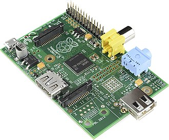 Raspberry Pi - The early Raspberry Pi 1 Model A, with an HDMI port and a standard RCA composite video port for older displays