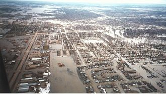 1997 Red River flood - Grand Forks after a levee overtopped and Grand Forks was evacuated