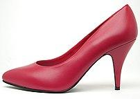 Red high-heeled shoe.