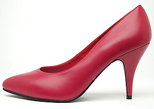 A high-heeled ladies shoe.