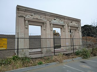 Fleishhacker Pool - Remains of Fleishhacker Pool Bath House, San Francisco. The building was burned down in December 2012. The rubble has been removed and all that remains is the framing around the main entrances. Photo taken from the San Francisco Zoo parking lot, facing West.