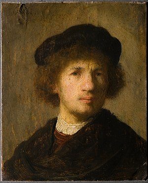 Oil painting - Self-portrait of Rembrandt, 1630. An example of oil painting on copper.