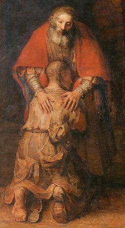 REMBRANDT Harmenszoon van Rijn The Return of the Prodigal Son (Father, Son) c. 1669