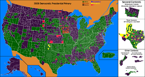 Results of the 2008 Democratic Party presidential primaries - Popular vote, first-place results by county. Green for Clinton, purple for Obama, orange for Edwards. (First place may be a plurality, less than 50 percent).