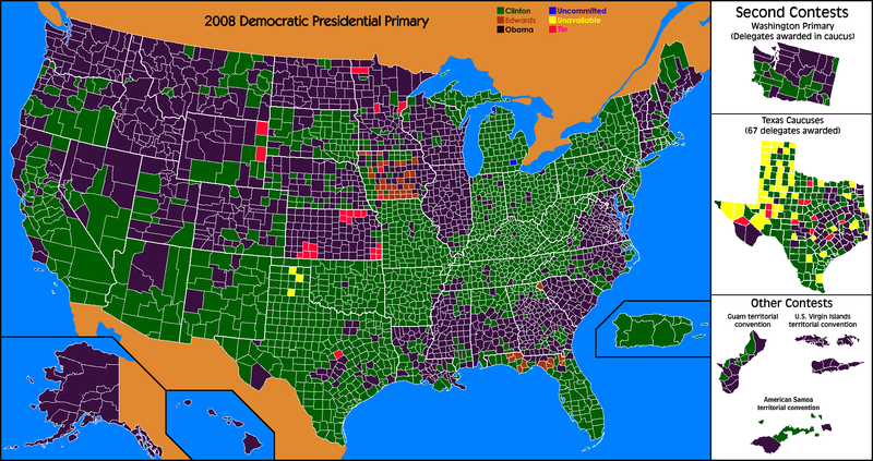Results by county of the 2008 Democratic Presidential Primaries.png