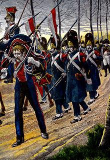 Peinture des soldats de l'île d'Elbe en marche vers Paris