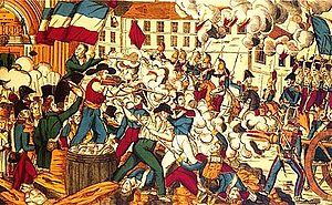 Battle in the streets of Lyon in front of Sain...