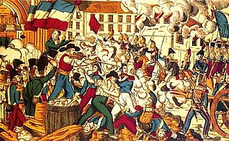 Canut revolts - Depiction of the fighting in the streets of Lyon in front of Saint-Nizier church during the 1831 revolt