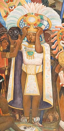 "Detail of the mural ""Civilización mixteco-zapoteca"" by Diego Rivera where thre is a Coquitao with possible features similar to Cosijoeza."