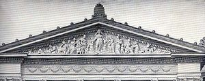 Pedimental sculptures in the United States - Women's Building Pediment (1893, destroyed), World's Columbian Exposition, Chicago, Illinois, by Alice Rideout