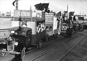 Latvian Soviet Socialist Republic - Demonstration in Riga. November 7, 1940