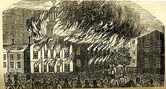 Philadelphia nativist riots - St. Augustine's Church on fire