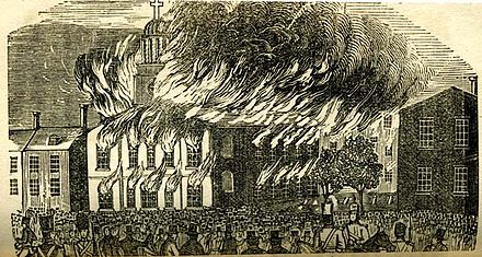 Burning of St. Augustine Church during the Philadelphia nativist riots in 1844 Riots1844staugestine.jpg