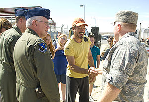 95th Air Base Wing - Robert Downey Jr. shakes hands with Col. Jerry Gandy, commander of the 95th Air Base Wing during the filming of Iron Man 2 at Edwards Air Force Base