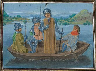 Richard II of England - Robert de Vere fleeing Radcot Bridge (Froissart)