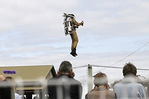 Jet pack - Rocketbelt pilot Dan Schlund at the 2005 Melbourne Show