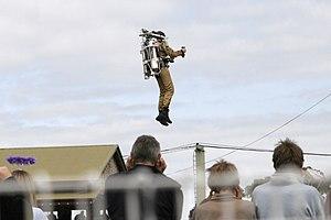 Jet pack - Rocketbelt pilot Dan Schlund at the 2005 Melbourne Show