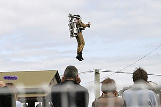 Jet pack Device worn on the back which uses jets of gas or liquid to propel the wearer through the air