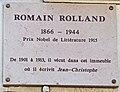 Romain Rolland plaque - 162 Boulevard du Montparnasse, Paris 14.jpg
