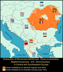 Detailed map depicting Romance populations in Central and Southeastern Europe at the round of the 21st century
