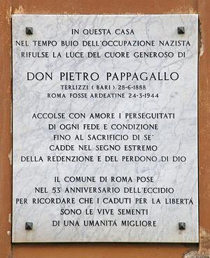 Ardeatine massacre - Image: Rome Italy, Via Urbana Targa Don Pietro Pappagallo