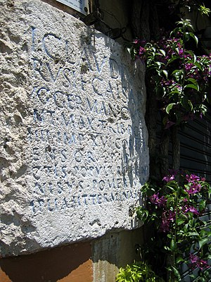 Pomerium - Inscription marking the Claudian pomerium in via del Pellegrino