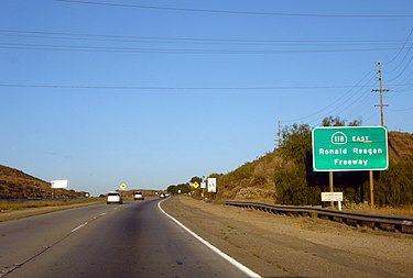 Signage referencing the Ronald Reagan Freeway on SR 118 eastbound near Simi Valley. Ronald Reagan Freeway.jpg
