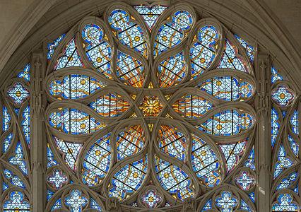 Rose Window of Sainte-Chapelle de Vincennes, Interior View 140308 1