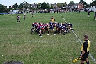 Rotherham Titans - Rotherham Titans scrum down vs. Bedford Blues.