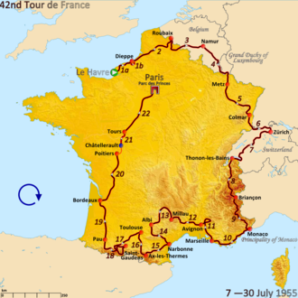1955 Tour de France - Route of the 1955 Tour de France followed clockwise, starting in Le Havre and finishing in Paris