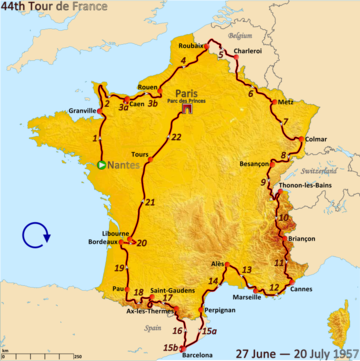 Route of the 1957 Tour de France followed clockwise, starting in Nantes and finishing in Paris